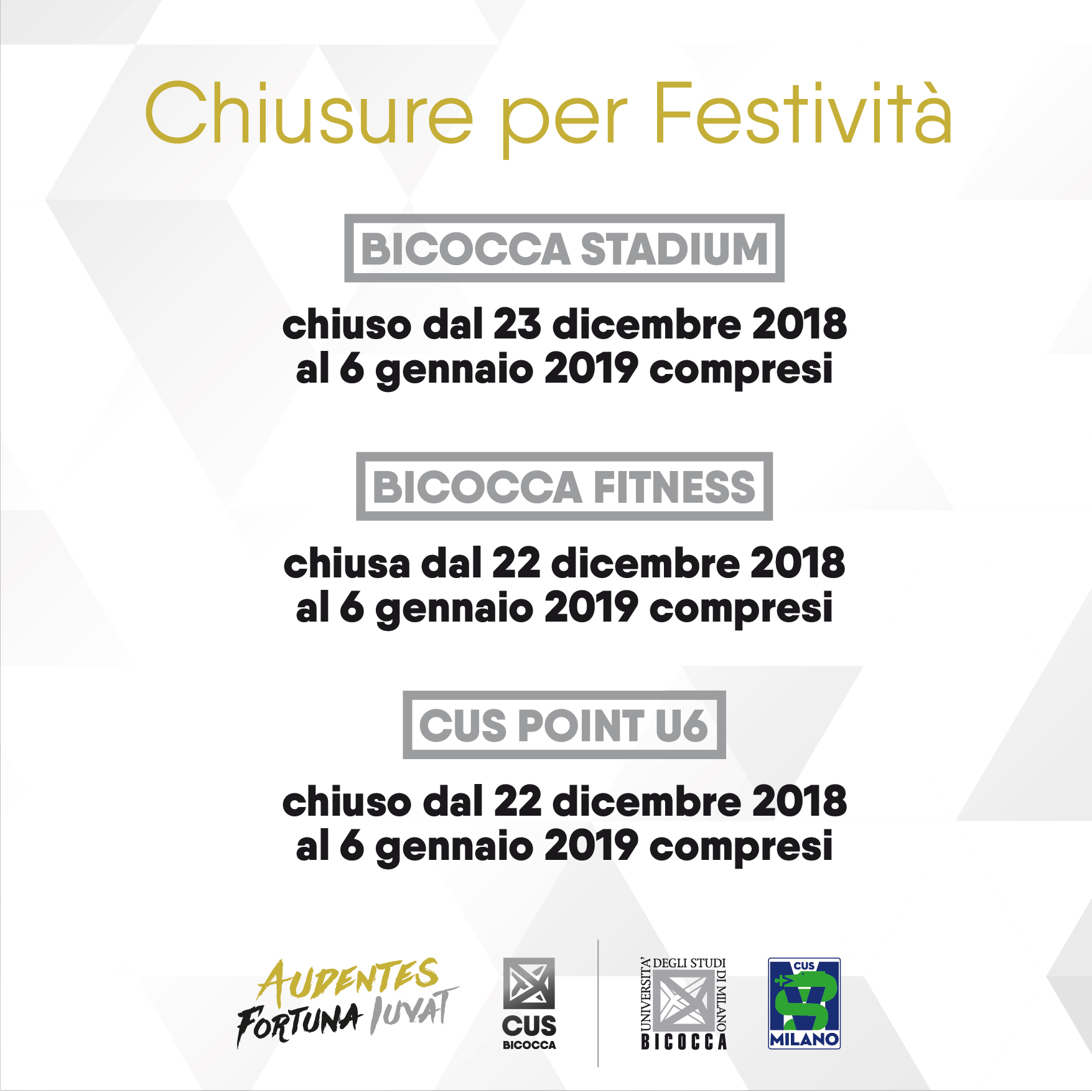 Chiusure per Festività 2018/19 – CUS Bicocca
