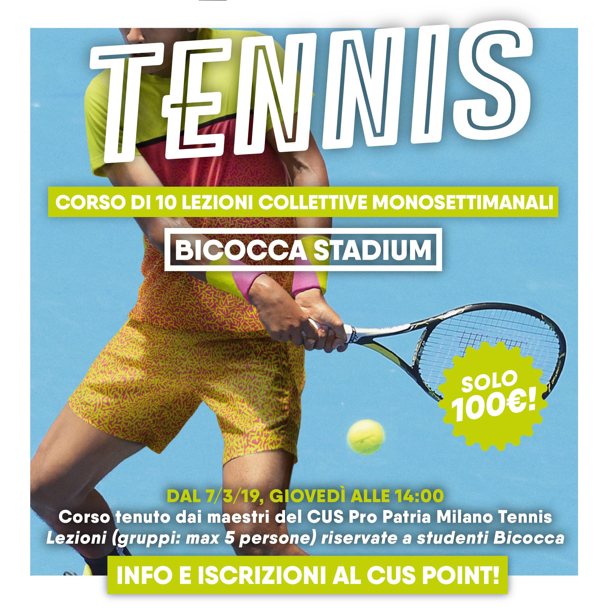 Corsi di tennis per universitari 2019 - Bicocca Stadium