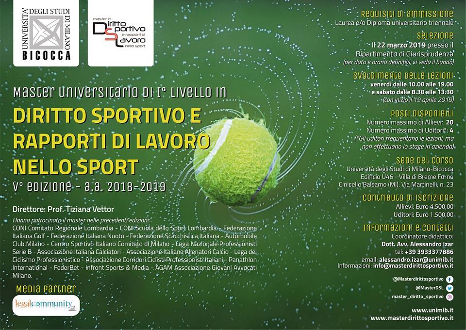 Master in Diritto Sportivo e Rapporti di Lavoro nello Sport 2019