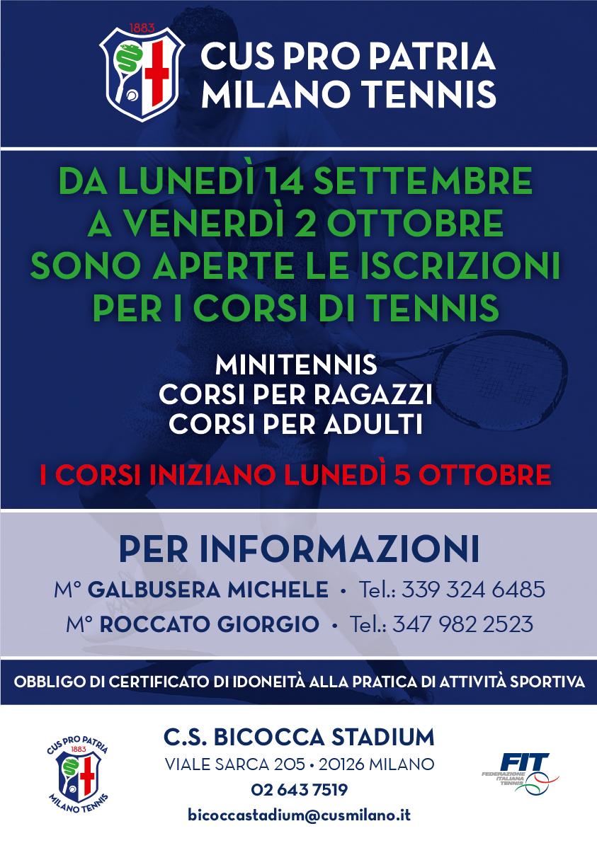 Corsi di Tennis 2020/21 • Bicocca Stadium • CUS Bicocca